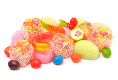Colorful jelly candies, caramels, lollipops Stock Photos