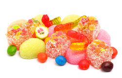 Colorful jelly candies, caramels, lollipops Royalty Free Stock Photos