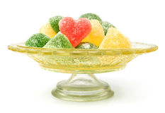 Colorful jelly candies in the shape of heart Royalty Free Stock Image