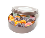 Colorful Jelly Candies in tin can Stock Photography