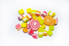 Colorful jelly candies on white Stock Photos