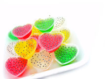 Colorful jelly isolate on white background. Kind of thai sweetmeat isolate on white background Stock Photo