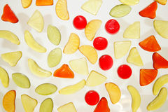 Colorful jelly sweets. Closeup of colorful jelly sweets isolated on white background stock images