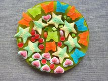 Colorful jelly sweets - butterfly, heart and star in plate, Lithuania stock photos