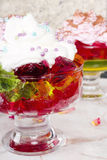 Colorful jelly with whipped cream Stock Photography