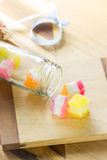 Colorful jelly on wood Stock Image