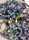 Colorful jewelry mess in market background Stock Photo