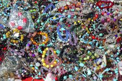 Colorful jewelry pattern texture macro many colors Royalty Free Stock Photo