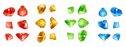 Colorful jewels on white background Stock Photos