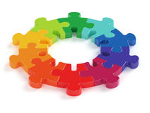 Colorful jigsaw. 3d render of colorful jigsaw isolated on white background Stock Images