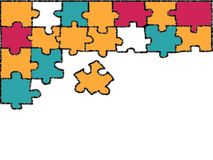 Colorful jigsaw doodle drawing on white background. stock illustration