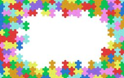 Colorful jigsaw puzzle blank template, pattern texture. Background with white space in the middle, 3d illustration Stock Image