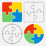 Colorful jigsaw puzzle , four pieces. Isolated Royalty Free Stock Image