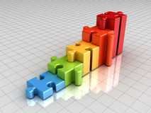 Colorful jigsaw puzzle graph chart pieces concept on grid Royalty Free Stock Images