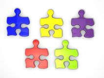 Colorful Jigsaw Puzzle Pieces. An illustration of colorful jigsaw puzzle pieces on a white  background Royalty Free Stock Photos