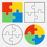 Colorful jigsaw puzzle vector, four pieces royalty free illustration
