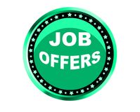 Colorful job offers web button click, application. Colorful job offers web icon and sales expired date designing  for a clean, crisp look. job offers logo Royalty Free Stock Images