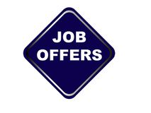 Colorful job offers web button click, application. Colorful job offers web icon and sales expired date designing  for a clean, crisp look. job offers logo Royalty Free Stock Photos