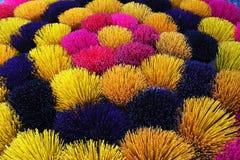 Colorful joss sticks stock photos