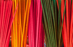 Colorful joss sticks or incenses Royalty Free Stock Photo