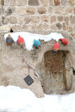 Colorful Jugs and Old Door. In Uchisar,Cappadocia,Turkey Stock Photography