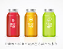 Colorful Juice Bottle Jar Template Set. Vector. Illustration royalty free illustration