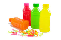 Colorful juice bottles Royalty Free Stock Image