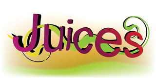 Colorful Juices word. Juices word with playful wavy ribbon behind it, imitating the juice floating in waves Royalty Free Stock Photography