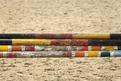 Show jumping barriers waiting for riders and horses Royalty Free Stock Image