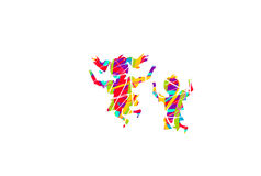 Colorful jumping children on white background Stock Photography