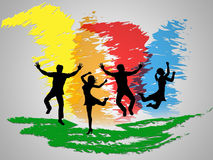 Colorful Jumping Indicates Friends Happiness And Positive Royalty Free Stock Photography