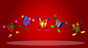 Colorful jumping presents Royalty Free Stock Photo