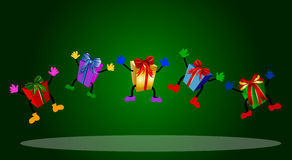 Colorful jumping presents Royalty Free Stock Images