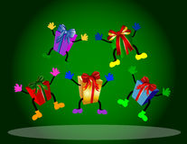 Colorful jumping presents Stock Photo