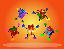 Colorful jumping presents Royalty Free Stock Image
