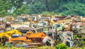 Colorful junkyard of heavy machinery Stock Images