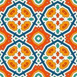 Colorful kaleidoscope abstract background. Eclectic mosaic tile. Bright seamless surface pattern with geometric ornament. Ornamental vivid wallpaper. Ethnic Royalty Free Stock Image