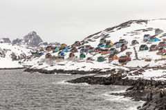Colorful Kangamiut village on the way to the Polar circle Stock Photography
