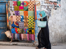 Colorful kangas and kitenges in Stone Town, Zanzibar Stock Photography