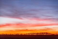 Colorful Kansas Sunset. A beautiful and colorful sunset in the Kansas flinthills. Image taken in January royalty free stock photo