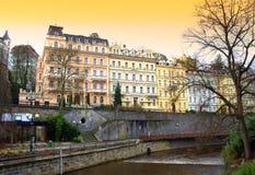 Colorful Karlovy Vary buildings Stock Photo