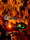 Colorful Karst cave. This picture was taken indside a karst cave in Puzhehei,Yunnan,China.The karst cave is Colorful and Beautiful Stock Photos