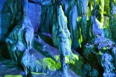 Colorful Karst cave. This picture was taken indside a karst cave in Puzhehei,Yunnan,China.The karst cave is Colorful and Beautiful stock images