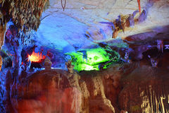 Colorful Karst cave. This picture was taken indside a karst cave in Puzhehei,Yunnan,China.The karst cave is Colorful and Beautiful Royalty Free Stock Image