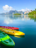 Colorful kayak align the waters of river, Thailand. Kayak. Royalty Free Stock Image