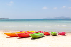 Colorful kayak on beach Stock Photo