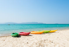 Colorful kayak on tropical beach Royalty Free Stock Photos