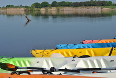 Colorful kayaks Royalty Free Stock Image