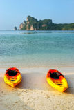 Colorful kayaks at Ao Loh Dalum beach on Phi Phi Don Island, Kra Stock Photos