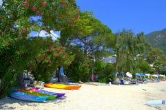 Colorful kayaks at beach Stock Photo
